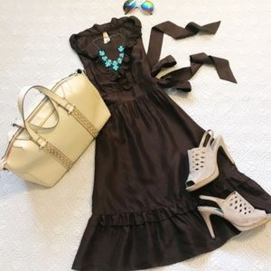 Anthropologie Maeve Brown Silk Ruffle Dress